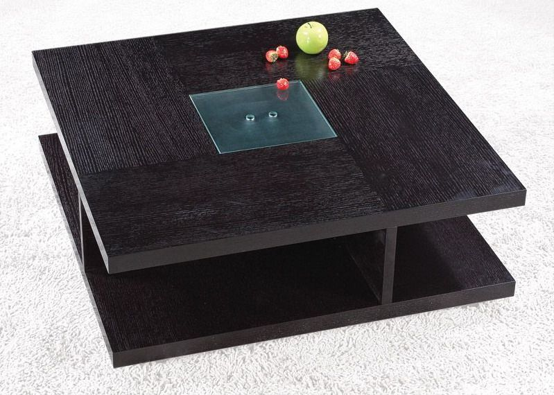 Designer Coffee Tables, Stylish Accessories. Square Black Wood Coffee Table  With Glass Center