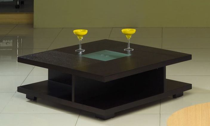 Square black wood coffee table with glass center oceanside for Latest center table design