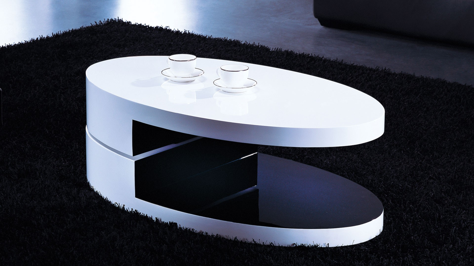 High gloss white and black oval coffee table worcester for Black and white glass coffee table