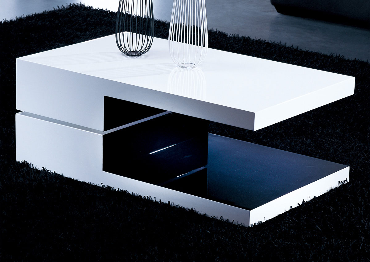 White and black rectangular high gloss contemporary coffee table knoxville tennessee ah8435 Black and white coffee table