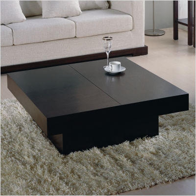Tahiti contemporary square motion storage coffee table for Small centre table designs