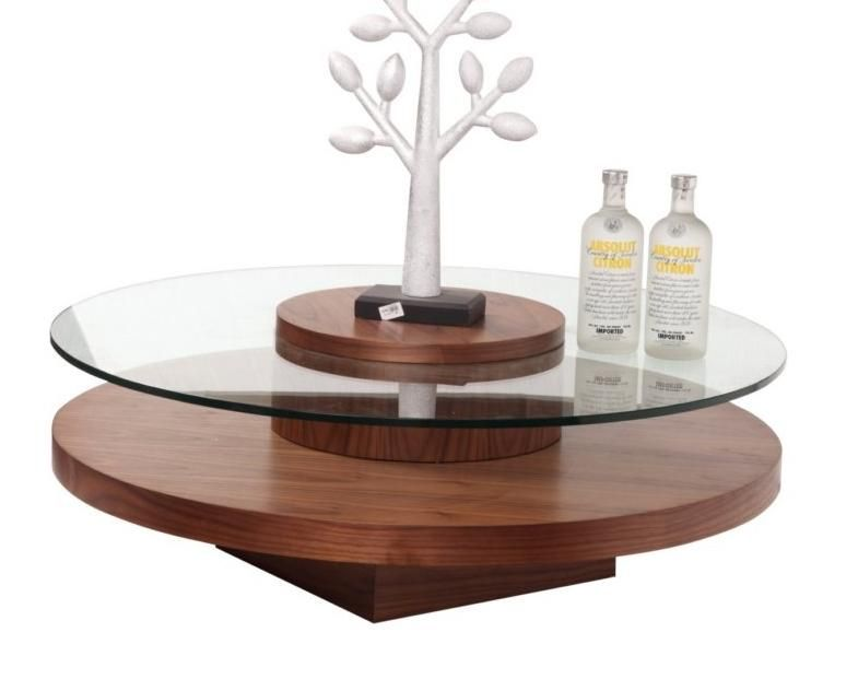 Round Rotatable Coffee Table In Walnut Finish Stamford Connecticut Bhrevere