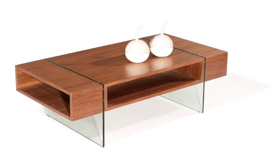 Elegant Rectangular Coffee Table with Two Glass Legs and a ...