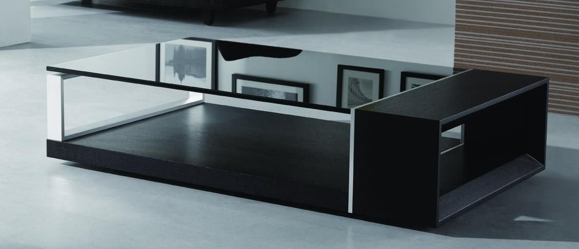 Contemporary Coffee Table With Black Glass Top El Monte