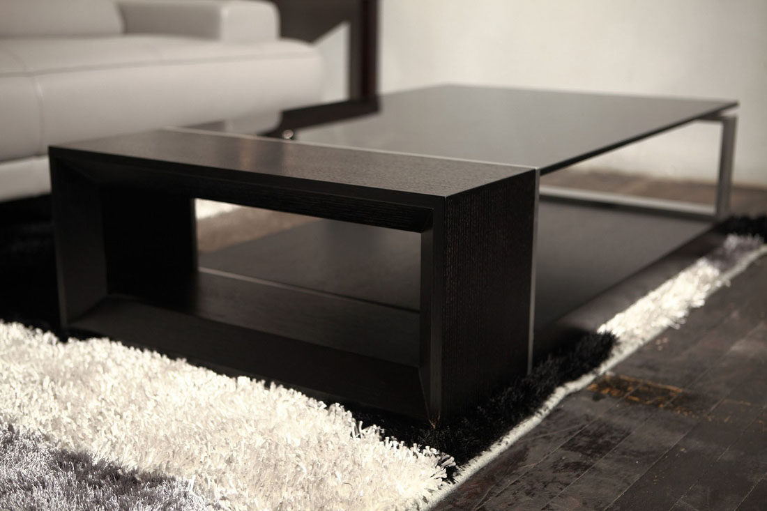 Contemporary coffee table with black glass top el monte for Contemporary glass top coffee table