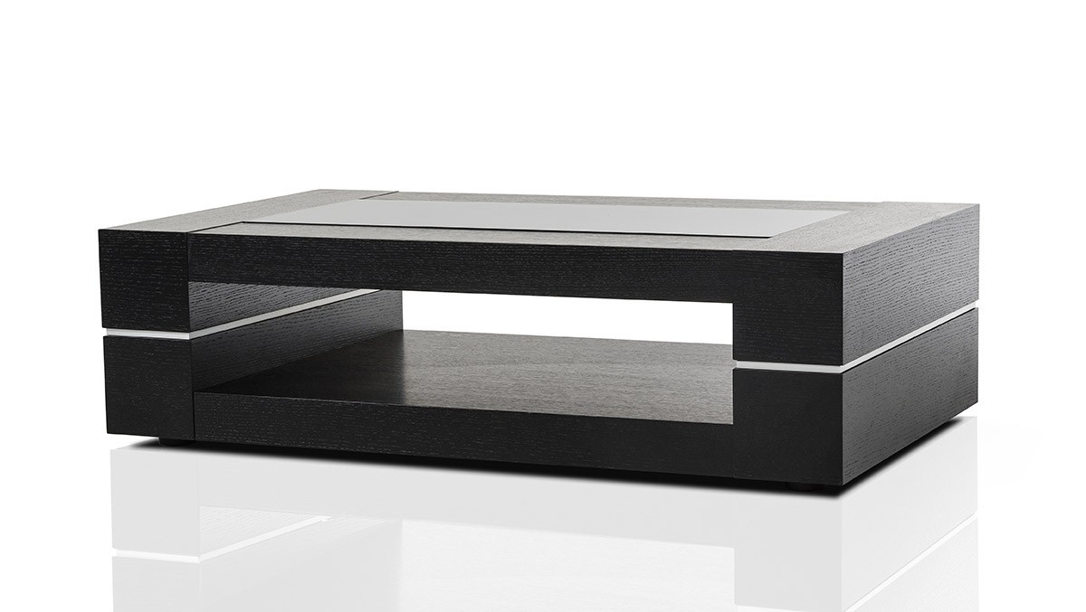 Modern black oak rectangular coffee table baltimore for Black and white glass coffee table