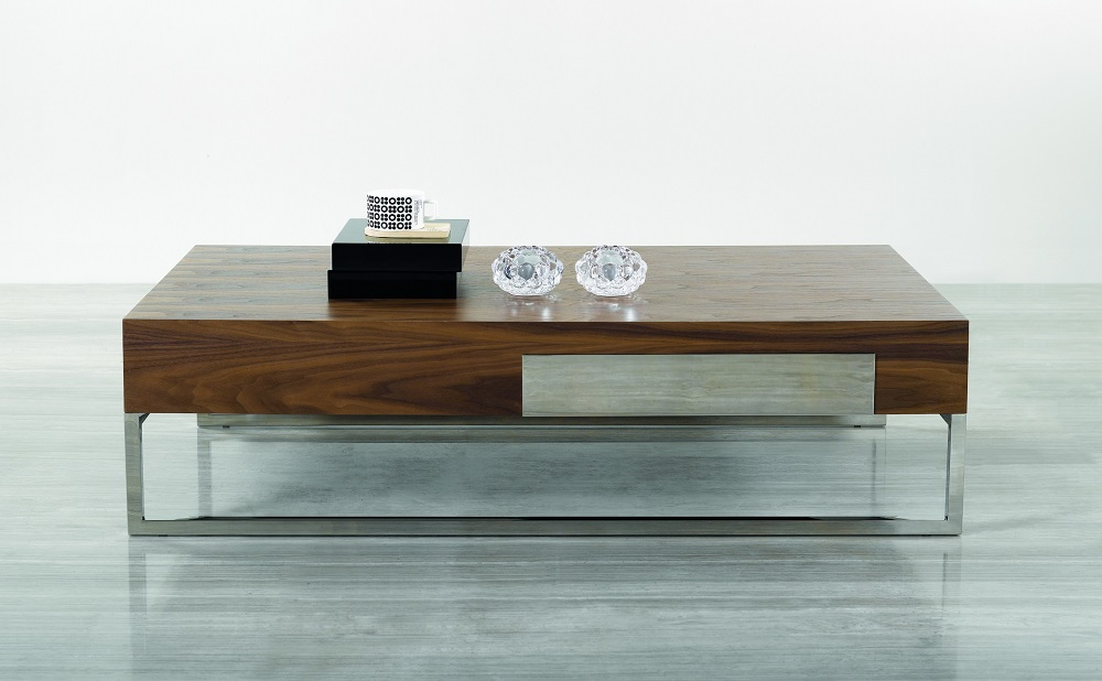 Contemporary walnut coffee table with storage drawer and chrome legs dallas texas j m 107a Contemporary coffee tables with storage