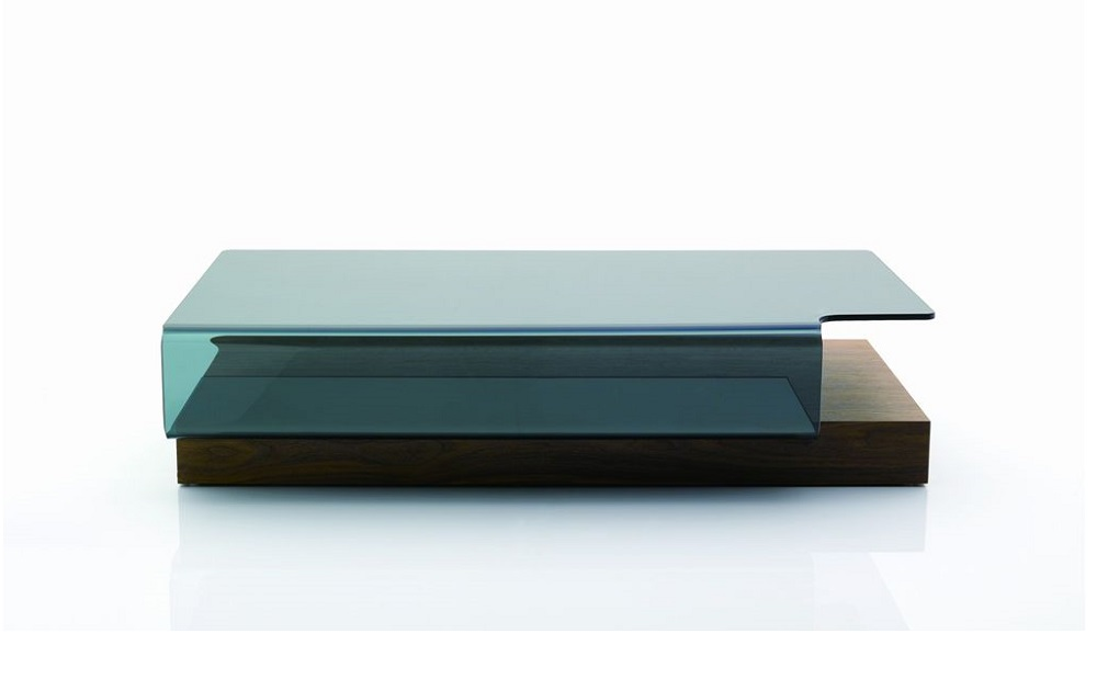 Contemporary coffee table with curved glass top in oak wood toledo ohio j m 953 Designer glass coffee tables