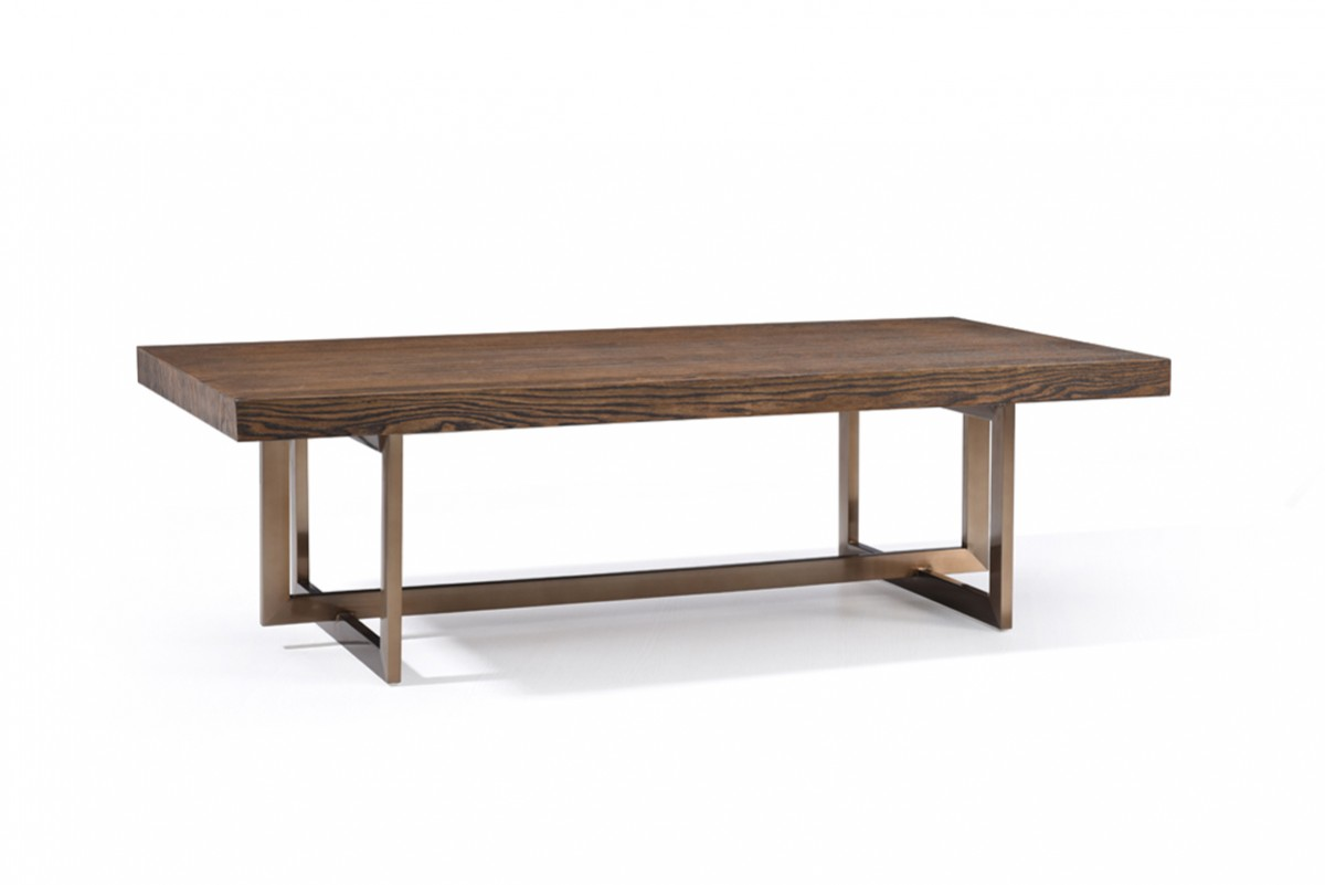 Modern elm and antique brass coffee table houston texas vig pike Antique brass coffee table