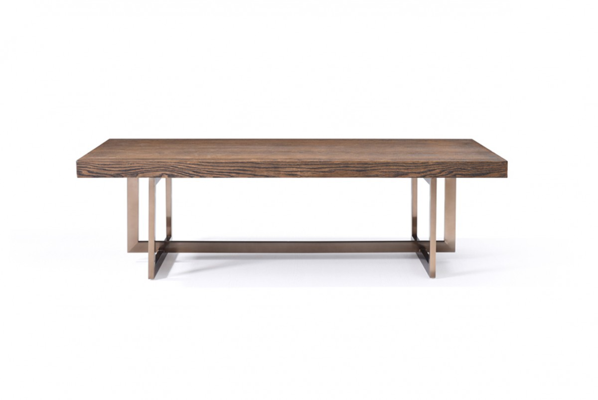 Modern Elm And Antique Brass Coffee Table Houston Texas