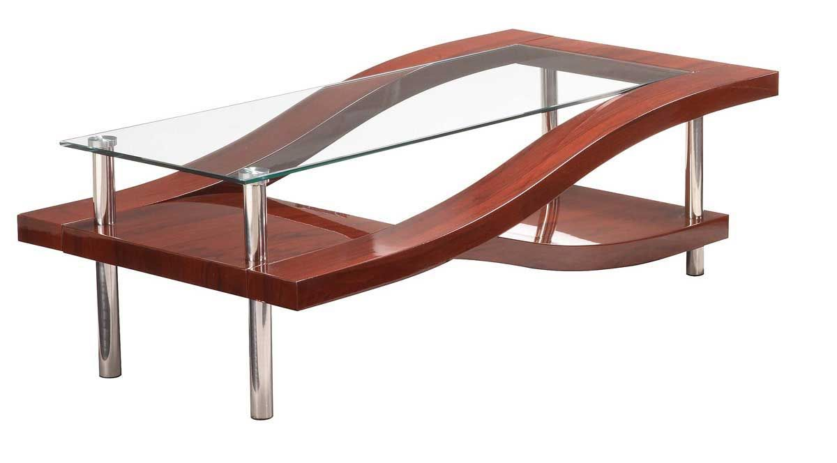 Mahogany and chrome coffee table two color options san diego california gf759 Designer glass coffee tables