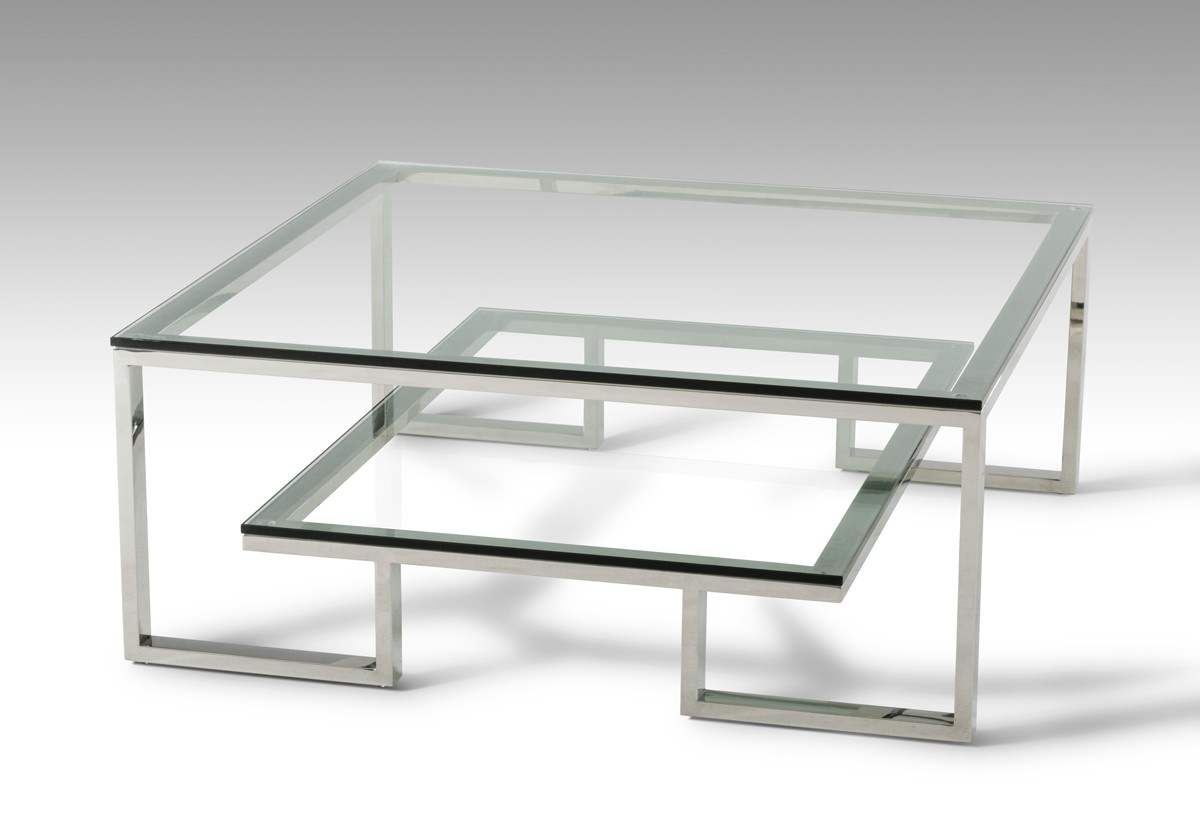 Designer Coffee Tables, Stylish Accessories. Modern Tampered Glass And  Chrome ...