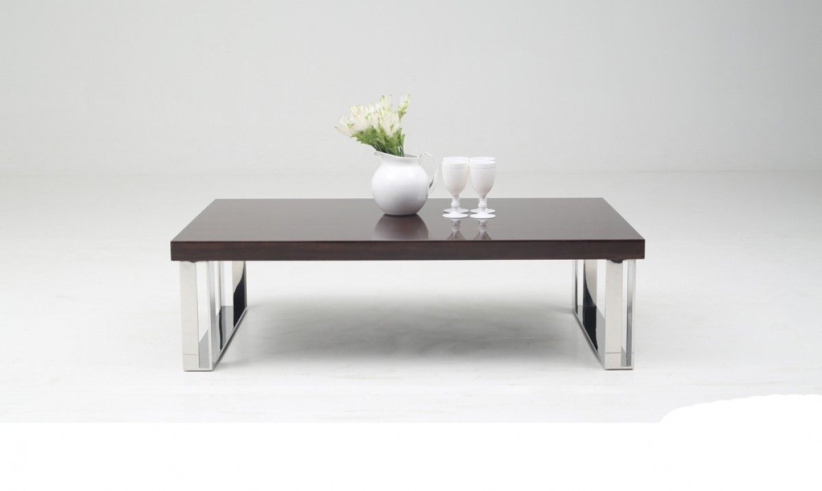 Contemporary Golden Teak Coffee Table on Stainless Steel Base - Click Image to Close