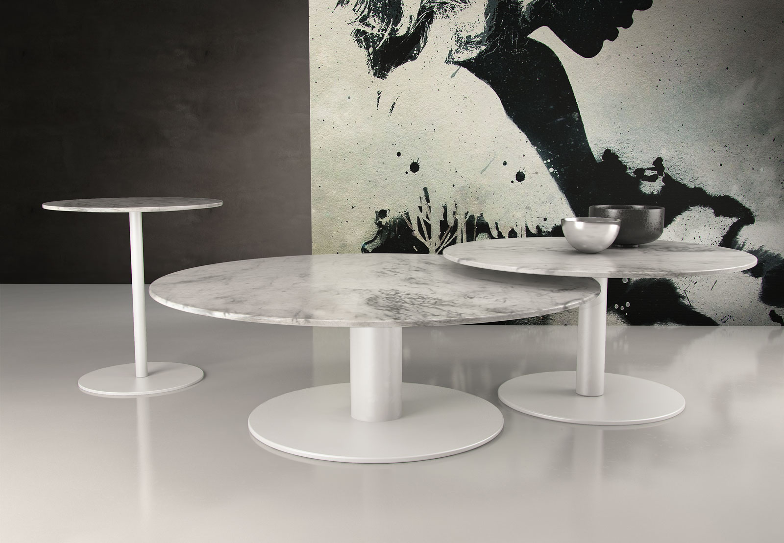 Natural italian marble coffee table with two size options for Marble coffee table design
