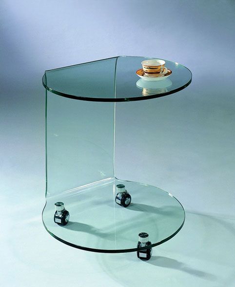 Modern Glass Coffee Table With Wheels: Glass End Table With Wheels Warren Michigan J&M-032