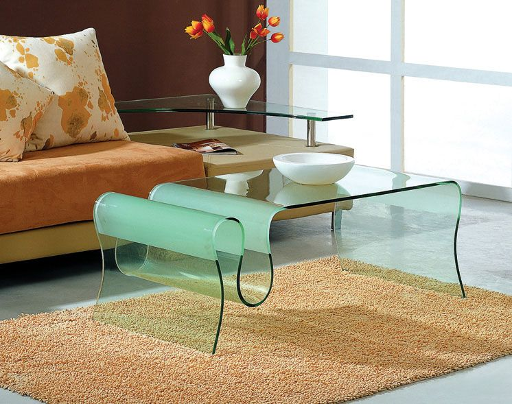 curved glass coffee table in clear glass finish hollywood florida Curved Coffee Table