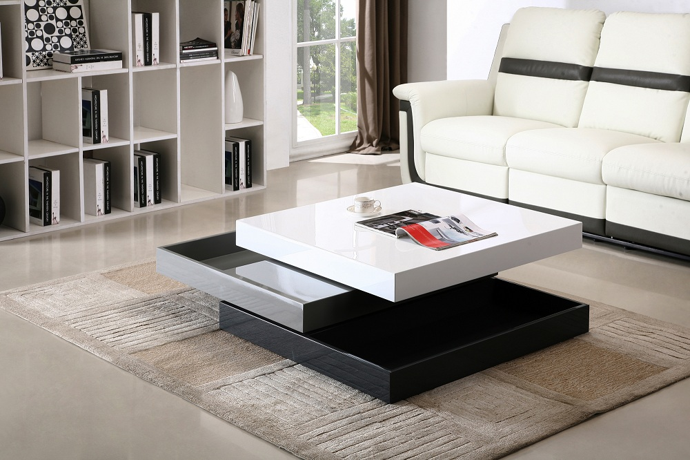 Madison White Grey Black 360 Degrees Motion Storage Coffee Table