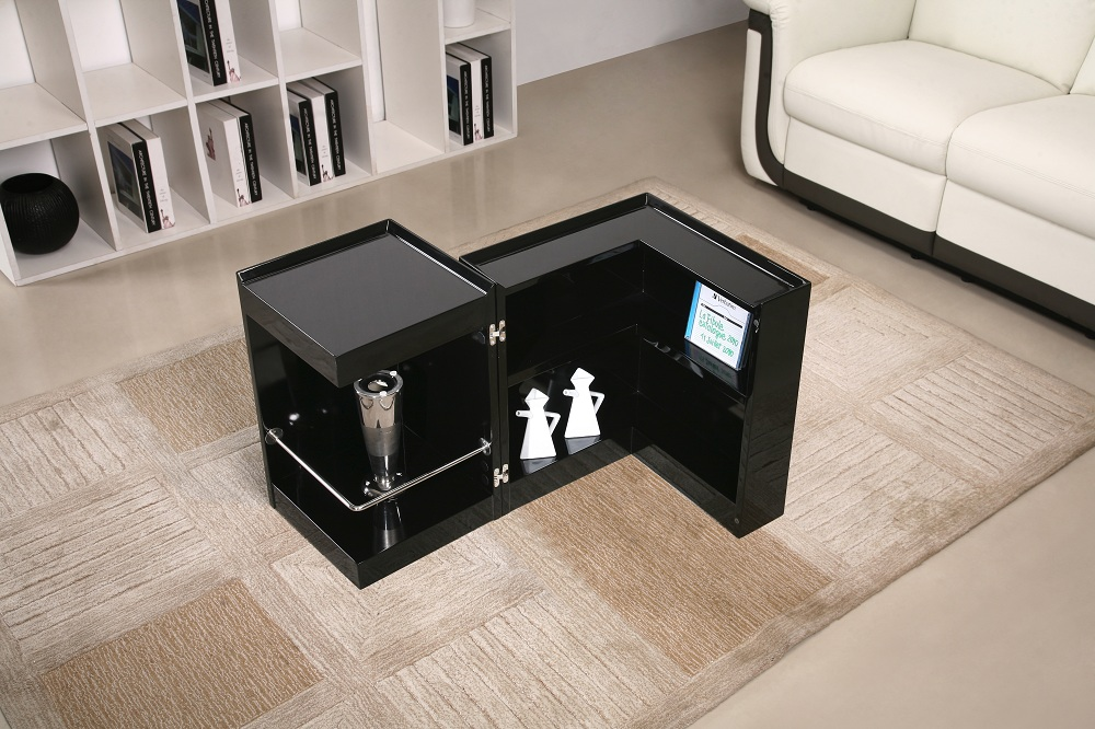 Contemporary Coffee End Table With Mini Storage Bar Inside