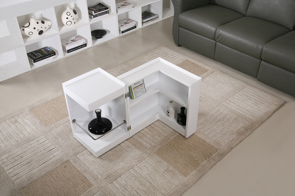 Contemporary Coffee End Table With Mini Storage Bar Inside Chicago Illinois  Ju0026M P205