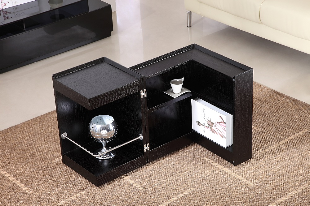 Contemporary coffee end table with mini storage bar inside chicago illinois j - Mini bar table design ...
