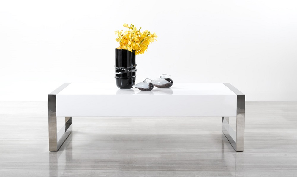 White High Gloss Coffee Table With Square Chrome Legs New