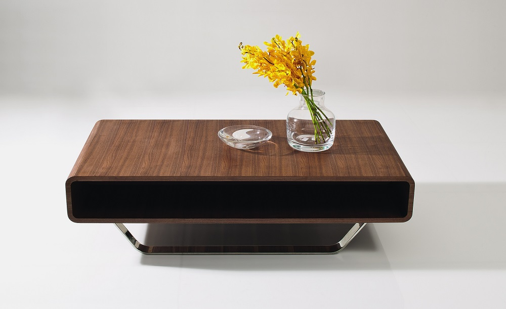 . Contemporary Walnut and Chrome Coffee Table