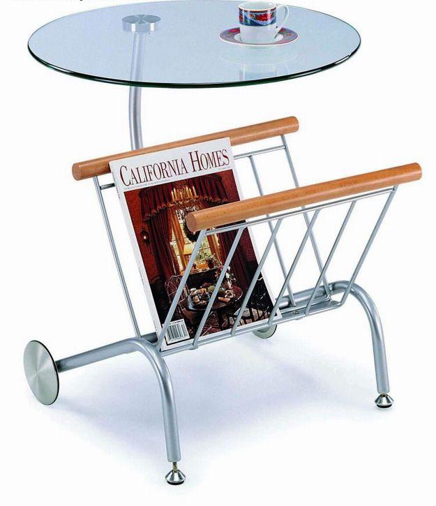 Comdesigner Table Bases : Contemporary Magazine Table with Chrome Base Aurora Illinois NS102