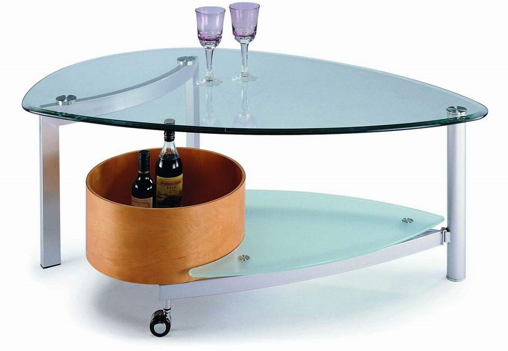 Contemporary design glass coffee table in beech or walnut for Contemporary glass top coffee table