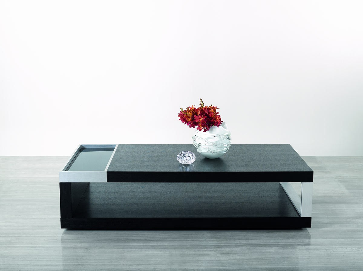 Black Oak And Black Tampered Glass Coffee Table Dallas