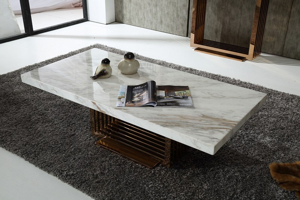 Modern marble top and rosegold base coffee table fort for Stone topped coffee tables