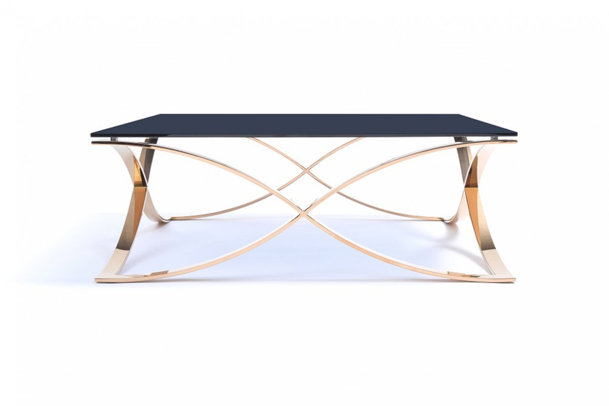 Designer Coffee Tables Stylish Accessories Beautiful Modern Rose Gold And Smoked Gl