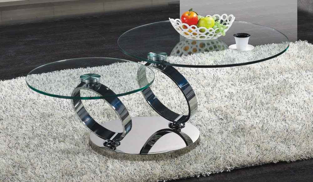 Modern Swivel Coffee Table.Contemporary Round Coffee Table With Two Levels Glass