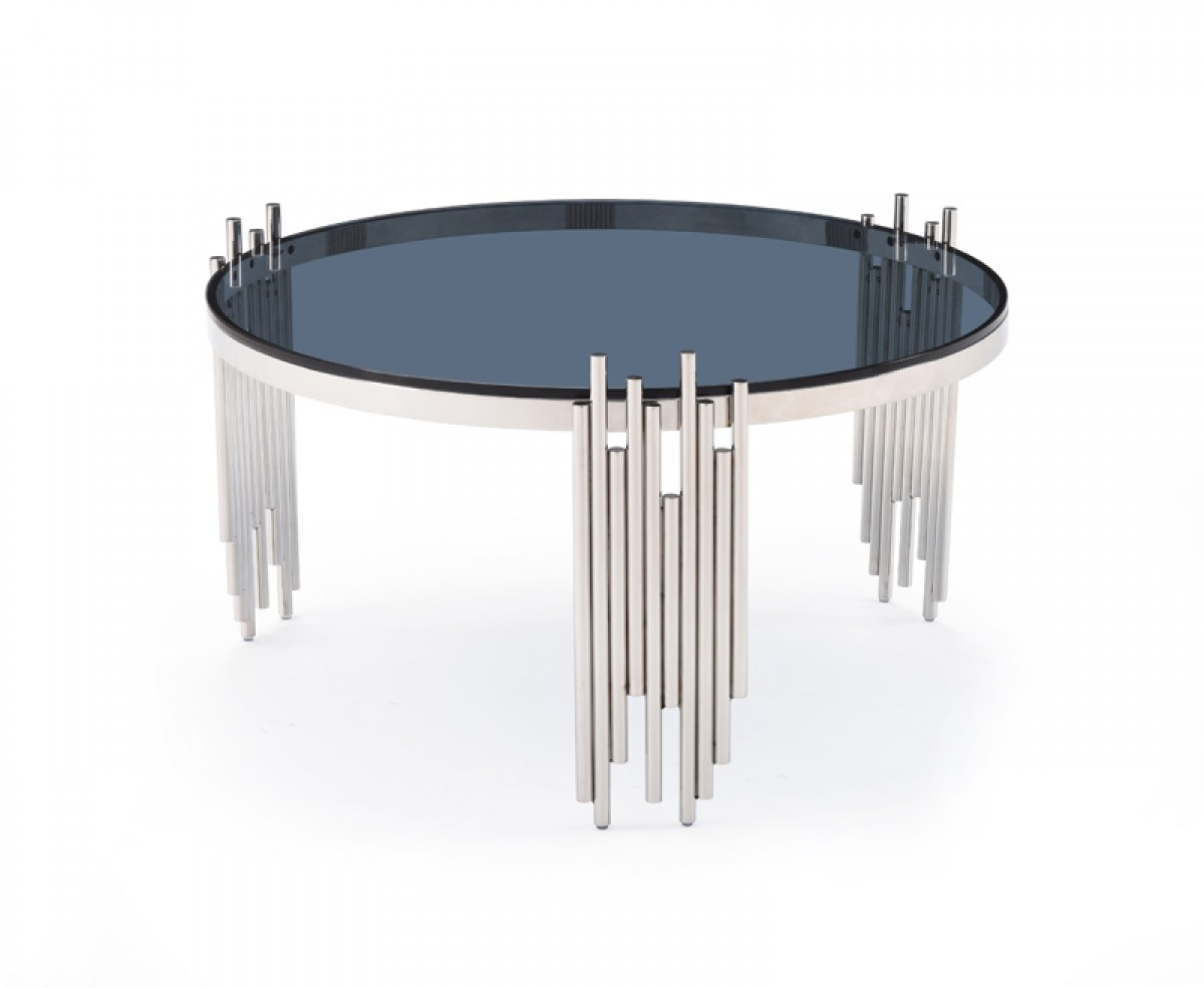 Modern Round Coffee Table With Tempered Glass And Stainless Steel San Jose California Vig Totem