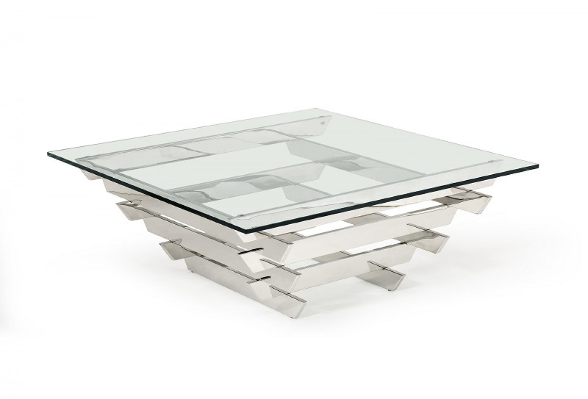 Unique Shape Stainless Steel and Tempered Glass Coffee Table