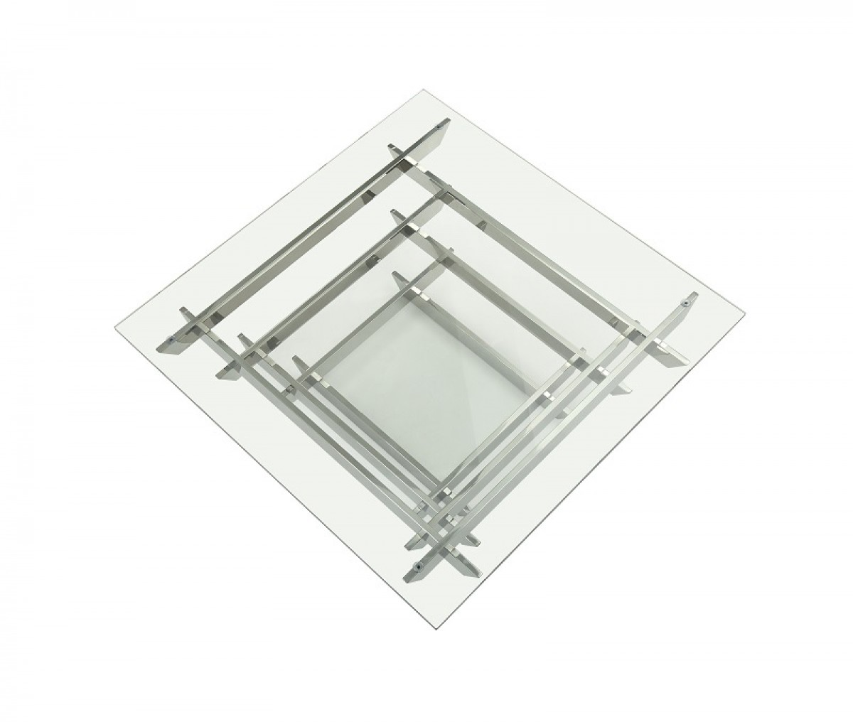 Unique Shape Stainless Steel and Tempered Glass Coffee Table Detroit