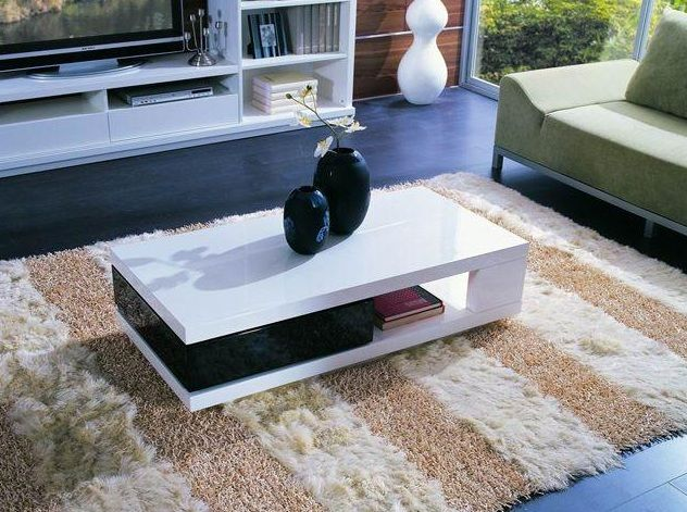 Rectangular Shaped Contemporary White And Black Coffee Table Oakland