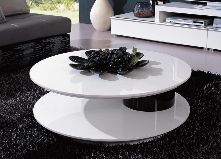 Round Shaped Contemporary White And Black Coffee Table Omaha Nebraska V5019