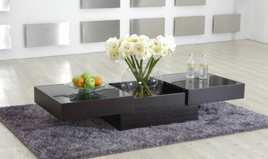 Contemporary Coffee Table With Storage And Glass Top New