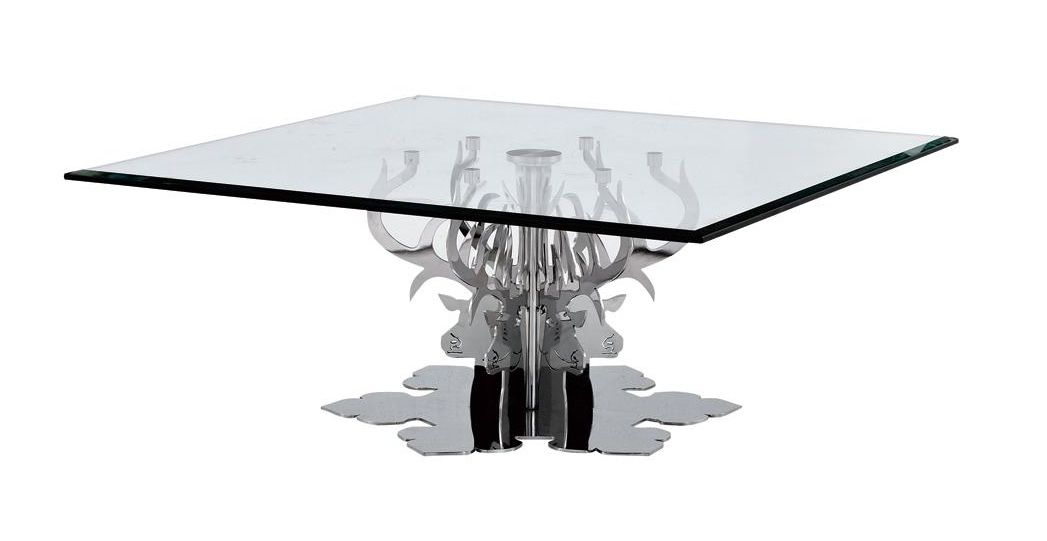 Square coffee table wood and glass extensions