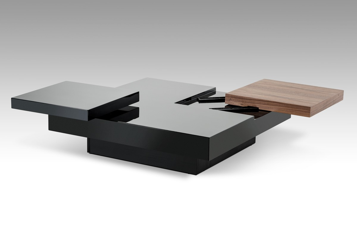 Walnut and black transformer coffee table detroit michigan vig mh1412 - Designer coffee tables ...
