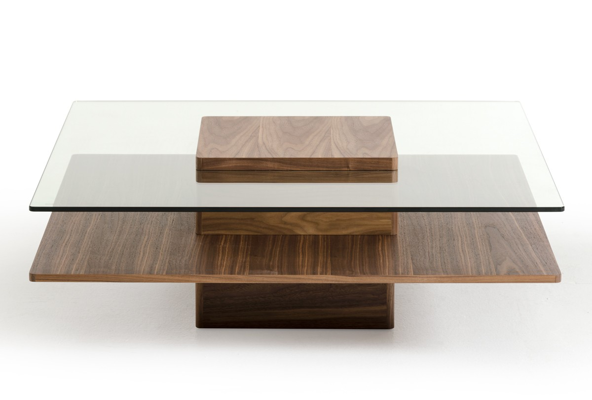 Walnut and tempered glass transparent coffee table new york new york vig clarion Designer glass coffee tables