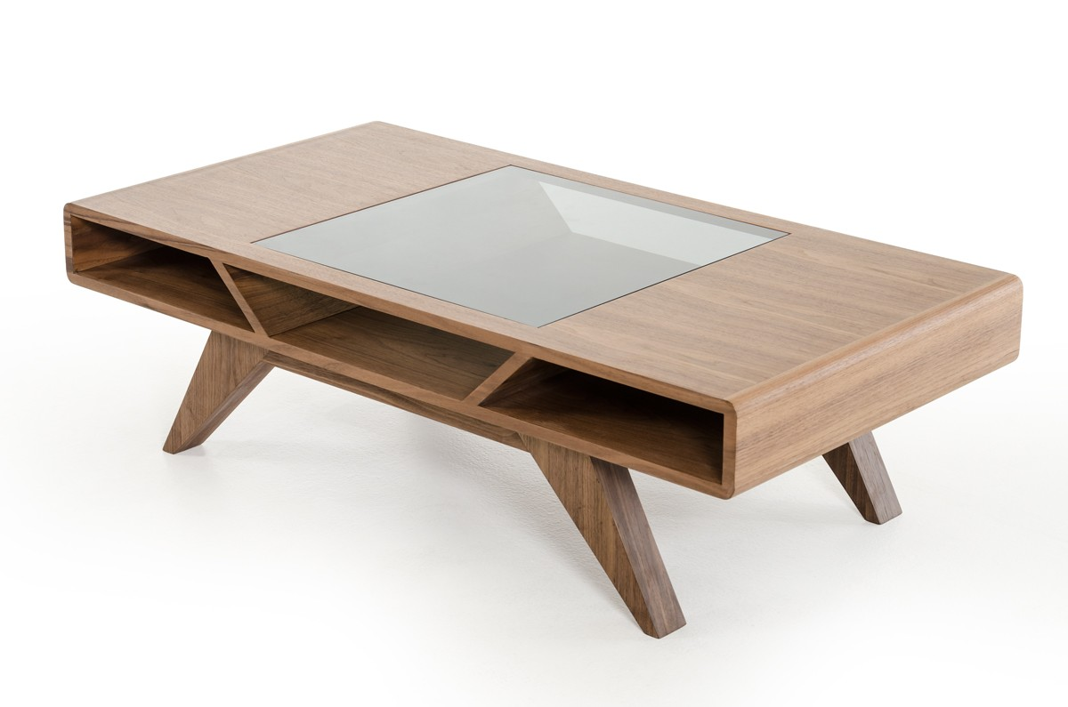 Modern walnut coffee table with tampered glass for Modern style coffee tables