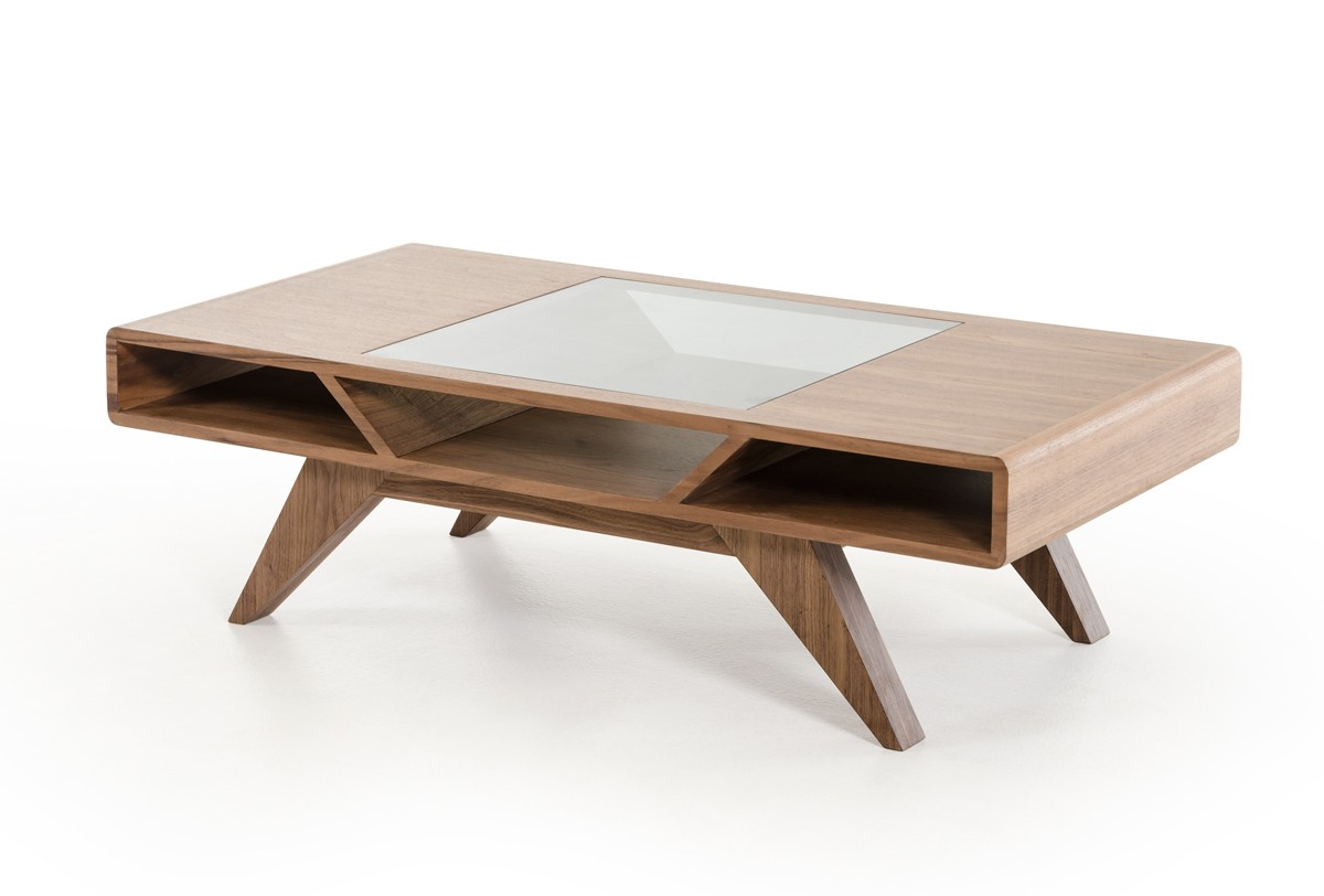 Modern Walnut Coffee Table with Tampered Glass Indianapolis