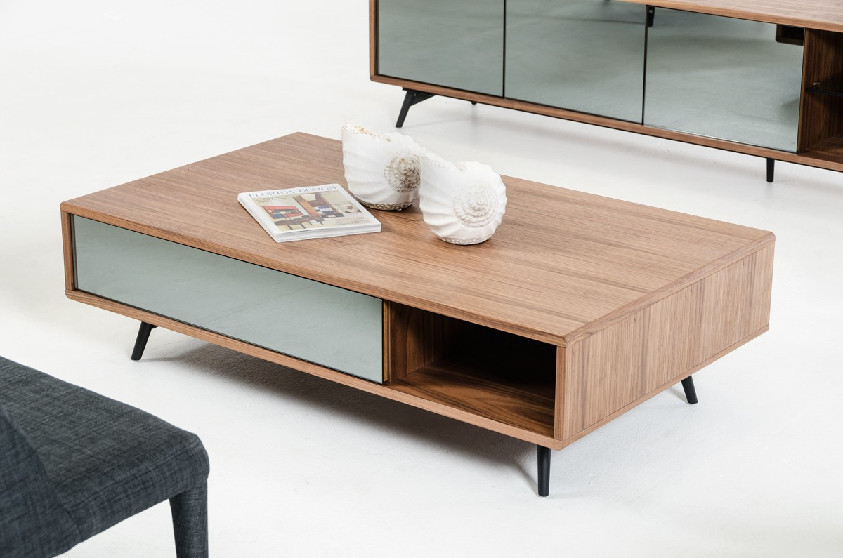 Modern walnut and mirrored glass coffee table philadelphia for Innovative table