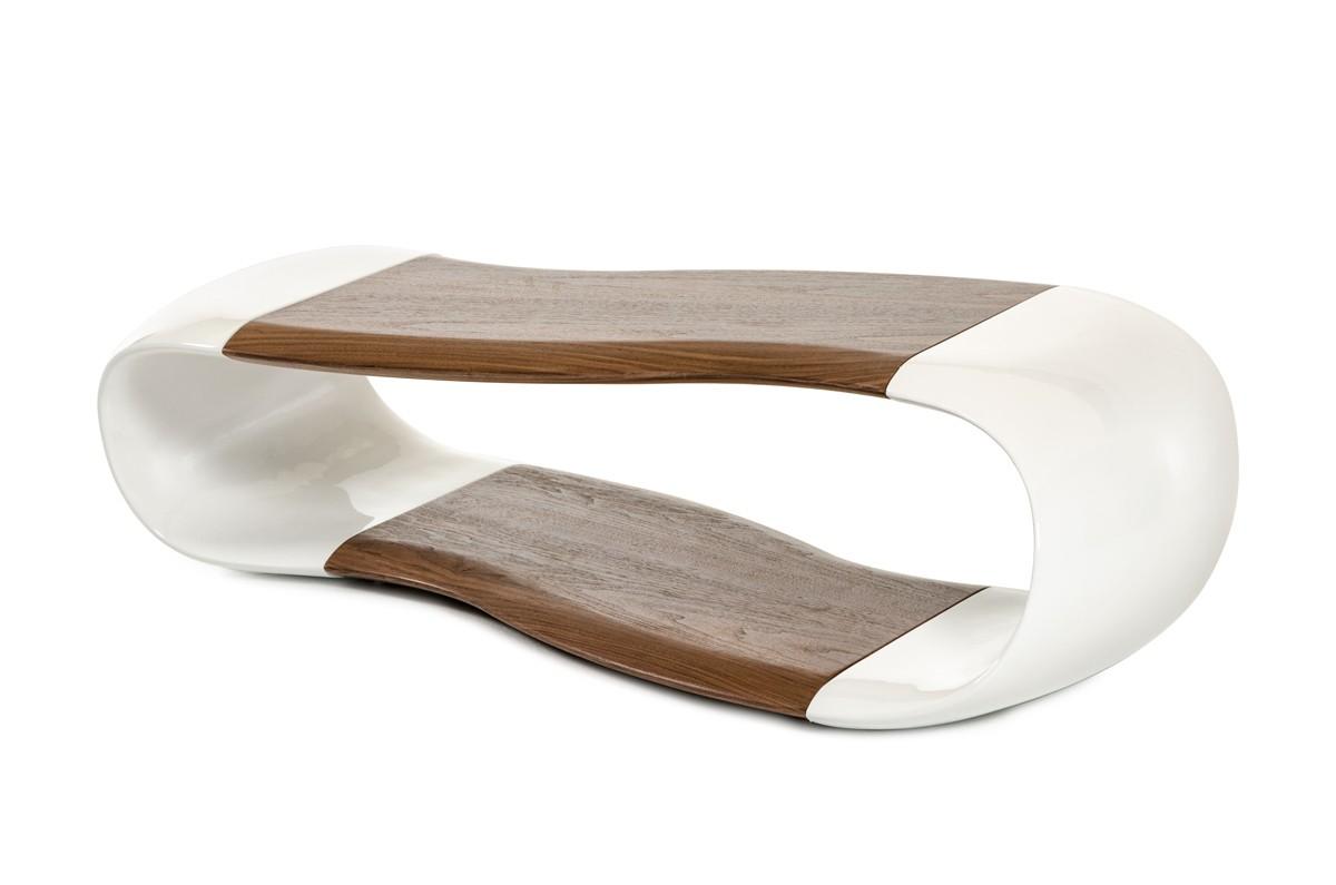 Contemporary White And Walnut Coffee Table San Antonio Texas Vig Tyra