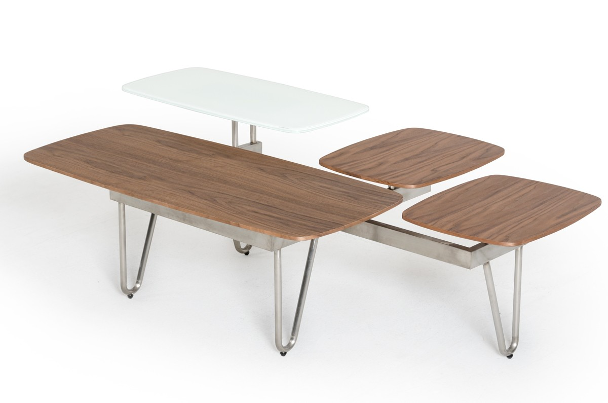 Tremendous Contemporary Walnut And White Glass Coffee Table With Nickle Legs Machost Co Dining Chair Design Ideas Machostcouk