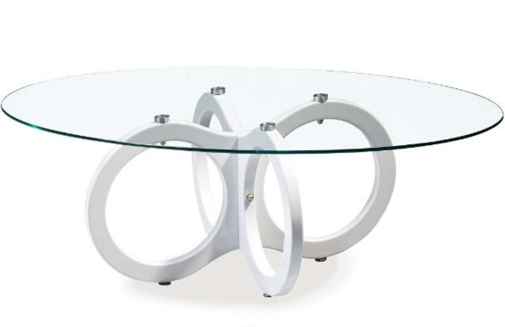 Oval Glass Top Coffee Table With White Ring Base Chicago Illinois Gf715