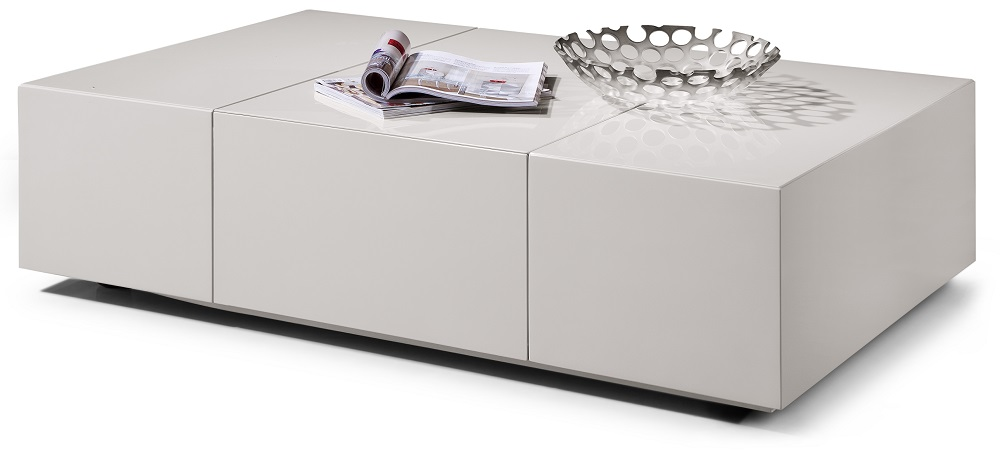 White Contemporary Glossy Finished Storage Coffee Table