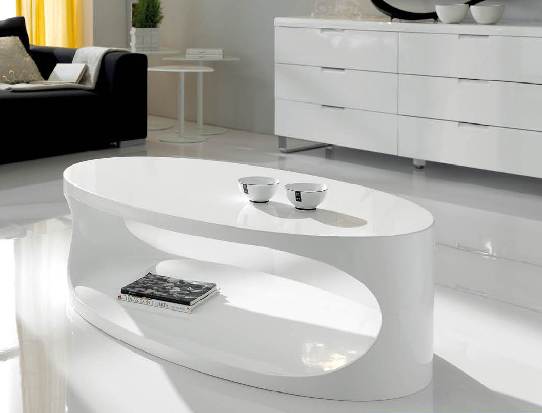 Open Storage White Lacquered Contemporary Coffee Table Los
