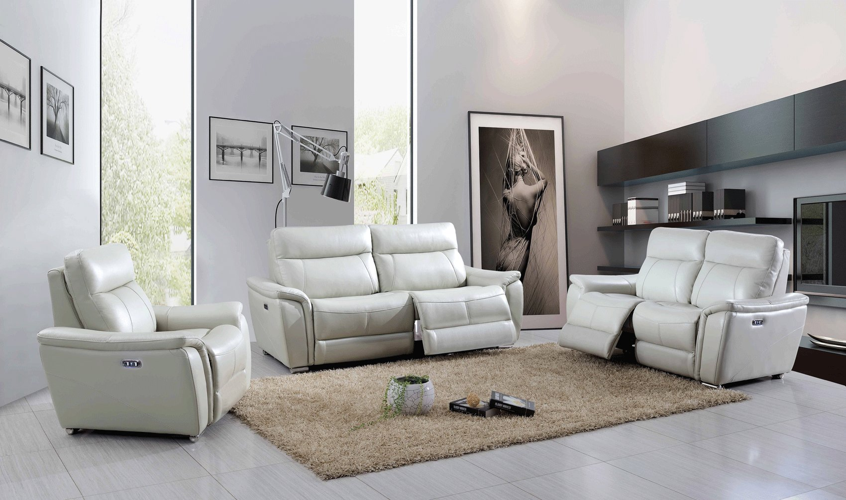 Light Grey Genuine Italian Leather Sofa Set St. Louis ...